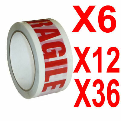 1,2,6,12,18,36,72 ROLLS OF FRAGILE PRINTED PACKING PARCEL TAPE 48mm x 66m