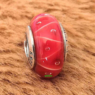 925 Sterling Silver Red Coral Looking Glass Bead Fit European Charm Bracelet
