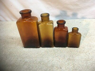 Lot of 4 Antique Small Brown Apothecary Medicine Bottles Pharmacy