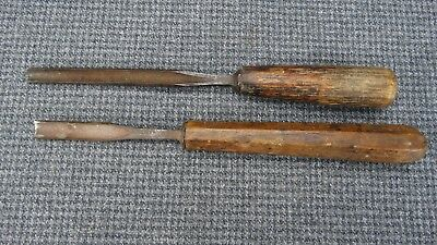 (B1) Pair of very old Gouges W. Butcher Cast Steel and an unmarked With Handles