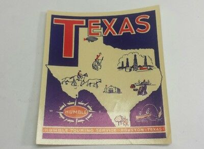 Early 1900s Vintage Humble Oil Touring Services Luggage Label Houston Texas