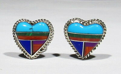 Vintage Signed Booqua Zuni 925 Silver Turquoise Coral Sugulite Heart Earrings