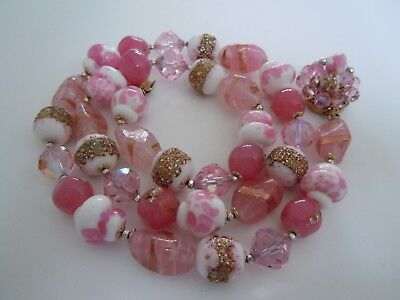 Gorgeous Antique Vintage Art Glass Beaded Necklace - Shades of Pink & White