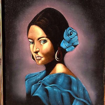 RARE LARGE SUPERB RETRO 1960s LATIN SPANISH BEAUTY VELVET PAINTING VINTAGE!!