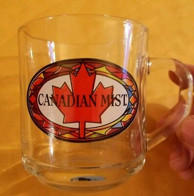 Canadian Mist glass mug Canadian maple leaf logo whiskey barware collectible