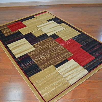 Brown Black Red Modern Contemporary Geometric Color Block Area Rug