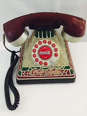 Coca Cola Coke Lighted Stained Glass Style Corded Telephone