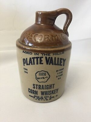 Vintage 1972 McCormick Platte Valley Straight Corn Whiskey Stoneware Jug Bottle