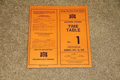 Vintage Chicago Rock Island & Pacific Railroad Southern Division Timetable 1972
