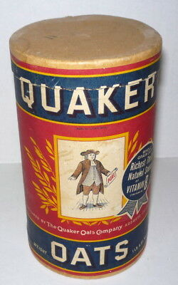 Vintage 1940's Quaker Oats Cereal 1 Pound Box Package Grocery Container Clean