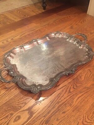 Antique silver plated serving tray. Sol Goldfeder ElectroPlated Silver. 1932 ish