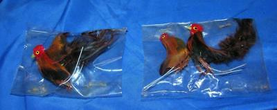4 VTG MINIATURE EASTER CRAFT CHICKENS (2 PAIR) Real Feathers on Wires