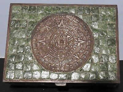 REDUCED Vintage Brass Wood with Inlaid Tiles & Aztec Calendar Box Very Unusual