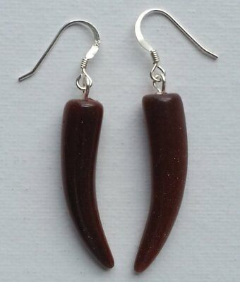 Pair of Vintage Chinese Hand Carved Goldstone Horns Earrings circa 1960s