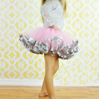 US Kids Girls Ballet Dress Dancewear Tutu Tulle Skirt Fancy Party Bow Costume