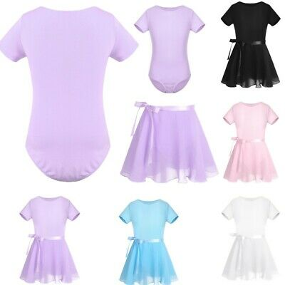 Girls Ballet Dance Gymnastics Leotard Tutu Skirt Kids Outfit Skating Costume Set