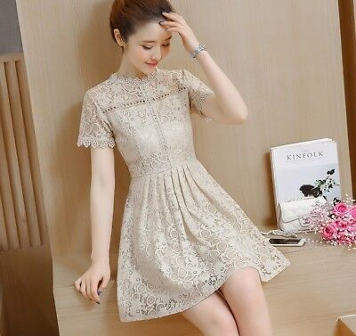 366655ec61 2018 Korean Style Sweet Short Sleeve A-line Slim Waist Casual Summer Lace  Dress