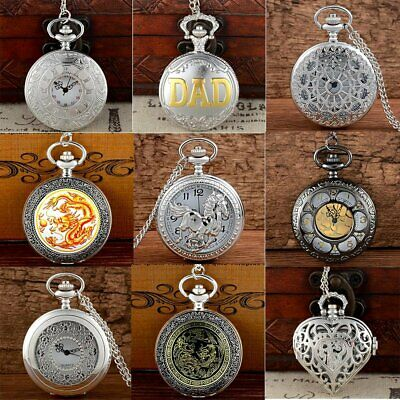 Silver Antique Luxury Quartz Pocket Watch Vintage Pendant Necklace Retro Gift