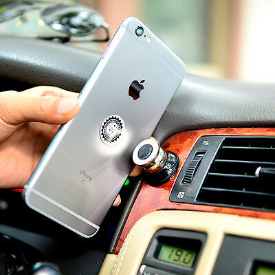 1X New Black 360 Magnetic Cell Mobile Phone Car Dash Holder Magic Stand Mount