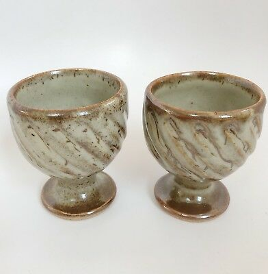 Pair of vintage early DAVID LEACH Aylesford Stone pottery goblet vase