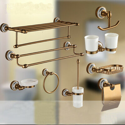 Luxury Bronze Finish Porcelain Bathroom Holder Rail Rack Bar Hook Wall Mounted