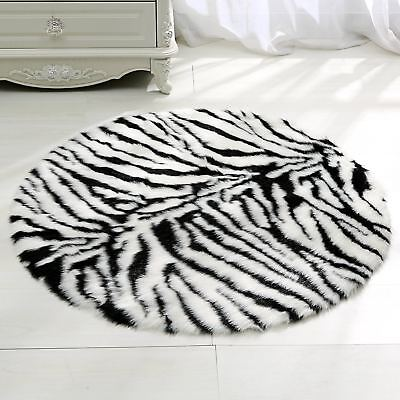 Zebra Floor Mat Rug Round Animal Print Long Hair Shaggy Soft Kids Room Area Rugs
