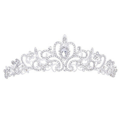 "Wedding Prom Engagement Party Bridal Bridesmaid Rhinestone Crown Tiara 11.42"" B3"