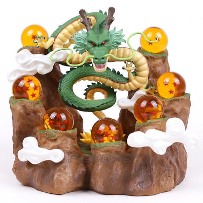 Dragonball Z Shenron Figure & Mountain Stand & Crystal Balls Toy Figure New