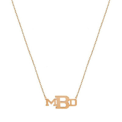 Personalized Three initials Necklace in Rose Gold Plated 925 Sterling Silver