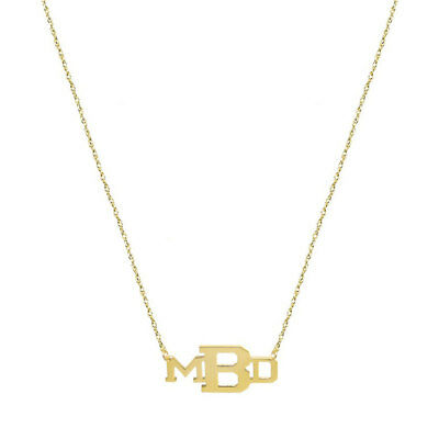 Personalized Three initials Necklace in Yellow Gold Plated 925 Sterling Silver