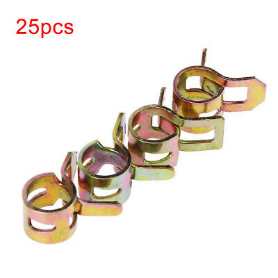 "Universal 25 Pack 1/4"" Fuel Line Clamps Fits 1/2"" Hose Spring Action Clamps"