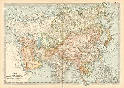 1903 Britannica Antique Map - Asia, Siberia And Central Asia
