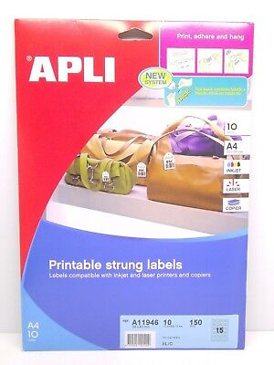 APLI Printable Strung Labels 28 x 43mm x 150 in A4 Sheets - String Price Tags