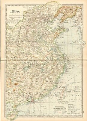 1903 Britannica Antique Map - China, Eastern Part, Formosa, Hong Kong