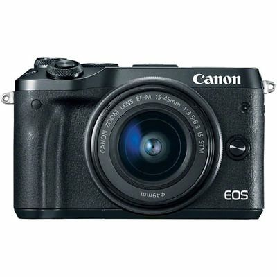 Canon EOS M6 with 15-45mm IS STM Lens Kit Black (Multi) Ship from US