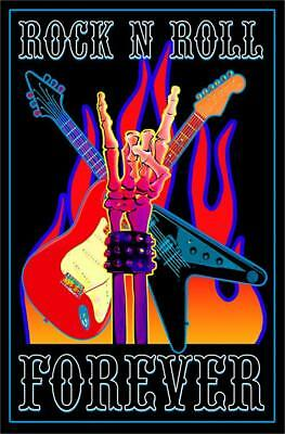 Rock N Roll Forever - Blacklight Poster - 23X35 Flocked Music Skeleton 1982