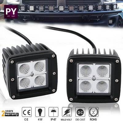 "2x 3""inch Square CREE LED Work Light Bar FLOOD Pods Offroad ATV SUV 4WD PK 18W"