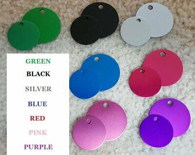 Pet ID Tag Dog and Cat Personalized Round Tag MADE IN USA, Aluminum Anodized