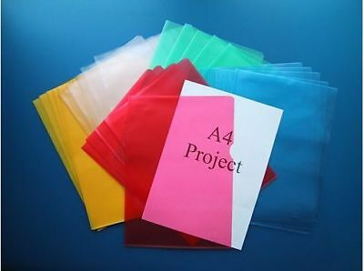 Coloured Plastic A4 Cut Flush Folders Filing Wallets Pockets Top + Side Opening
