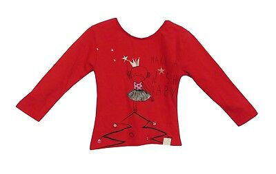 NEW! Baby Girls River Island Red Angel Xmas Angel Long Sleeve T-Shirt Age 6-9