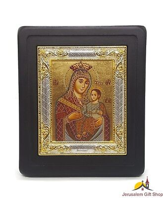 Greek 24K Gold With 950 Pure Silver Hand Made Mother Of God Byzantine Icon