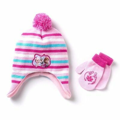 NEW Disney Frozen Toddler Striped Knit Hat and Mittens
