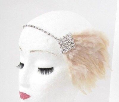 Silver Champagne Beige Diamante Feather Headpiece 1920s Headband Flapper 5094