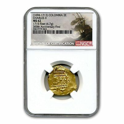 (1694-1713) Colombia Gold 2 Escudos Charles II Type MS-62 NGC - SKU#160075