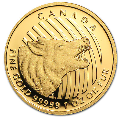 2014 Canada 1 oz Proof Gold $200 Howling Wolf - SKU#81142