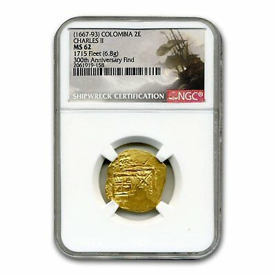 (1667-1693) Colombia Gold 2 Escudos Charles II Type MS-62 NGC - SKU#160074