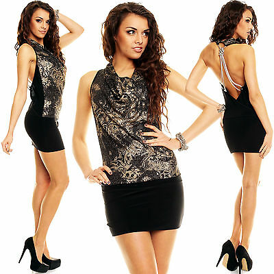New Top Women Clubbing Backless Mini Dress Sexy Ladies Party Wear Size 6 8 10 12
