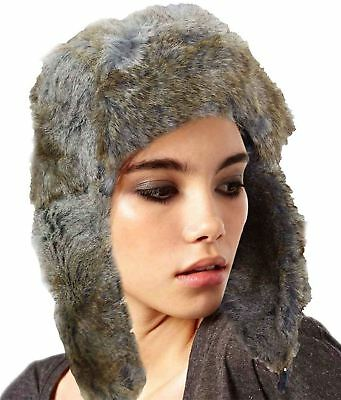 Mens Womens Knitted Unisex Faux Fur Trapper Ski Hat Winter Warm Lined Strap