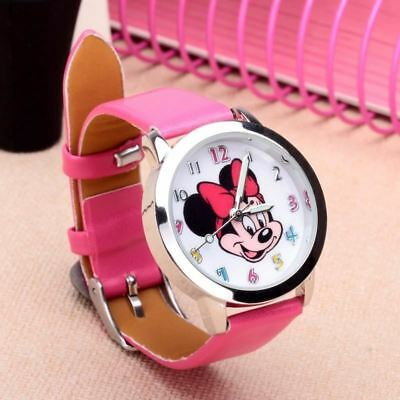 CHILDREN'S WATCH Disney Mickey & Minnie Mouse Leather Strap Quartz Wrist Watch