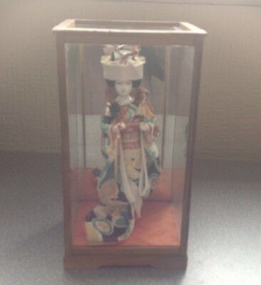 Vintage Japanese Geisha Girl Miniature Figurine Doll In Glass Case